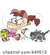 Cartoon Summer Girl Walking Her Dog On The Beach