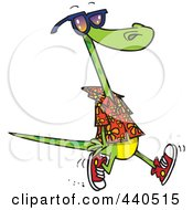 Royalty Free RF Clip Art Illustration Of A Cartoon Summer Lizard Walking On A Beach by toonaday