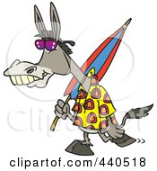Royalty Free RF Clip Art Illustration Of A Cartoon Summer Donkey Carrying A Beach Umbrella by toonaday