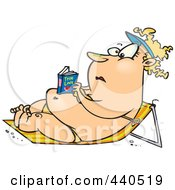 Cartoon Chubby Woman Reading A Romance Novel And Sun Bathing In A Beach Chair