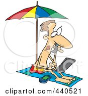 Royalty Free RF Clip Art Illustration Of A Cartoon Man Working On The Beach by toonaday