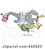 Royalty Free RF Clip Art Illustration Of A Cartoon Summer Elephant Running On A Beach