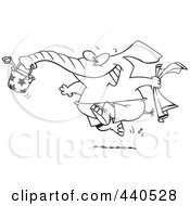 Royalty Free RF Clip Art Illustration Of A Cartoon Black And White Outline Design Of A Summer Elephant Running On A Beach