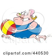 Royalty Free RF Clip Art Illustration Of A Cartoon Chubby Woman Running With A Beach Ball