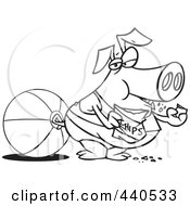 Royalty Free RF Clip Art Illustration Of A Cartoon Black And White Outline Design Of A Fat Pig Eating Chips On A Beach