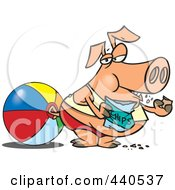 Royalty Free RF Clip Art Illustration Of A Cartoon Fat Pig Eating Chips On A Beach
