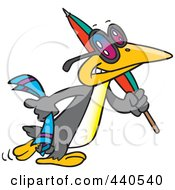 Royalty Free RF Clip Art Illustration Of A Cartoon Summer Bird Carrying A Beach Umbrella