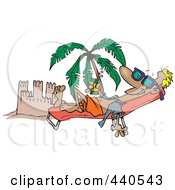 Cartoon Beach Bum Man Tanning By A Sand Castle