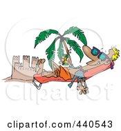 Royalty Free RF Clip Art Illustration Of A Cartoon Beach Bum Man Tanning By A Sand Castle