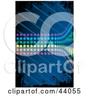Clipart Illustration Of A Wave Of Rainbow Dots Curving On A Grungy Blue And Black Background