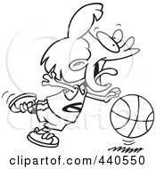 Royalty Free RF Clip Art Illustration Of A Cartoon Black And White Outline Design Of A Basketball Girl Dribbling