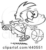 Royalty Free RF Clip Art Illustration Of A Cartoon Black And White Outline Design Of A Basketball Boy Dribbling