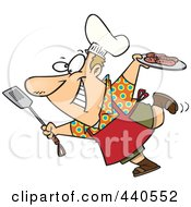 Royalty Free RF Clip Art Illustration Of A Cartoon Man Carrying A Plate Of Food To His Bbq