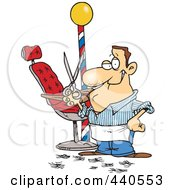 Cartoon Male Barber Standing By His Chair And Holding Up Scissors