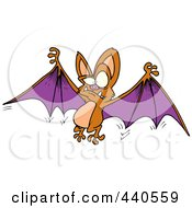 Royalty Free RF Clip Art Illustration Of A Cartoon Flying Bat Holding His Wings Open
