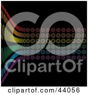 Curving Wall Of Rainbow Colored Circles On Black