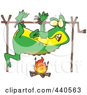 Royalty Free RF Clip Art Illustration Of A Cartoon Alligator Cooking Over A Camp Fire by toonaday
