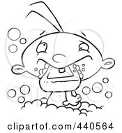 Royalty Free RF Clip Art Illustration Of A Cartoon Black And White Outline Design Of A Baby Boy Eating Soap In The Bath Tub