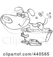 Royalty Free RF Clip Art Illustration Of A Cartoon Black And White Outline Design Of A Happy Dog Bathing In A Tub by toonaday