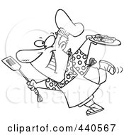 Royalty Free RF Clip Art Illustration Of A Cartoon Black And White Outline Design Of A Man Carrying A Plate Of Food To His Bbq
