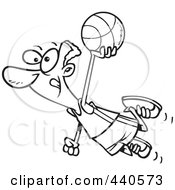 Royalty Free RF Clip Art Illustration Of A Cartoon Black And White Outline Design Of A Black Basketball Player Flying