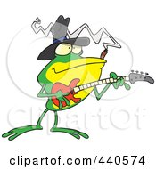 Royalty Free RF Clip Art Illustration Of A Cartoon Bass Guitarist Frog by toonaday