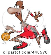 Royalty Free RF Clip Art Illustration Of A Cartoon Black Basketball Player