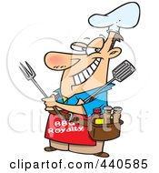 Royalty Free RF Clip Art Illustration Of A Cartoon Man Wearing A Bbq Royalty Apron by toonaday