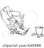 Royalty Free RF Clip Art Illustration Of A Cartoon Black And White Outline Design Of A Lazy Businessman Sitting In A Chair And Tossing Papers In A Waste Basket by toonaday
