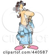 Royalty Free RF Clip Art Illustration Of A Cartoon Woman In Curlers And Her Robe Answering A Phone Call
