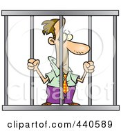 Royalty Free RF Clip Art Illustration Of A Cartoon Businessman Behind Bars