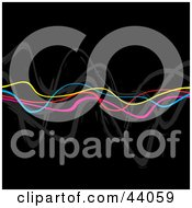 Clipart Illustration Of A Black Background With Horizontal Rainbow Colored Squiggly Waves