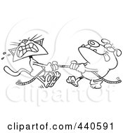 Royalty Free RF Clip Art Illustration Of A Cartoon Black And White Outline Design Of A Bull Dog And Cat Playing Tug Of War by toonaday
