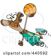Royalty Free RF Clip Art Illustration Of A Cartoon Black Basketball Player Flying by toonaday