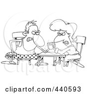 Royalty Free RF Clip Art Illustration Of A Cartoon Black And White Outline Design Of A Married Couple Arm Wrestling by toonaday