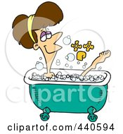 Royalty Free RF Clip Art Illustration Of A Cartoon Relaxed Woman Taking A Bath by Ron Leishman