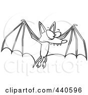 Royalty Free RF Clip Art Illustration Of A Cartoon Black And White Outline Design Of A Flying Bat
