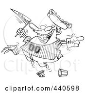 Royalty Free RF Clip Art Illustration Of A Cartoon Black And White Outline Design Of A Baseball Fan Jumping