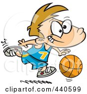 Royalty Free RF Clip Art Illustration Of A Cartoon Basketball Boy Dribbling by toonaday