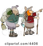 Male And Female Hikers Hiking With Backpacks Canteens Sleeping Bags And Walking Sticks Clipart