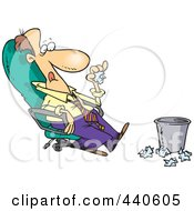 Royalty Free RF Clip Art Illustration Of A Cartoon Lazy Businessman Sitting In A Chair And Tossing Papers In A Waste Basket by toonaday