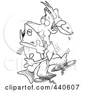 Royalty Free RF Clip Art Illustration Of A Cartoon Black And White Outline Design Of A Man Hugging A Bass Fish