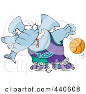 Royalty Free RF Clip Art Illustration Of A Cartoon Basketball Elephant by toonaday