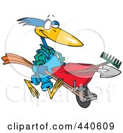 Royalty Free RF Clip Art Illustration Of A Cartoon Bird Landscaper Pushing A Wheel Barrow by toonaday