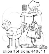 Royalty Free RF Clip Art Illustration Of A Cartoon Black And White Outline Design Of A Bird Standing By His Bbq
