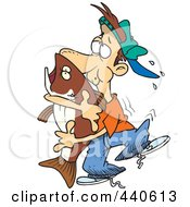 Royalty Free RF Clip Art Illustration Of A Cartoon Man Hugging A Bass Fish