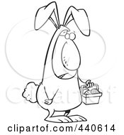 Royalty Free RF Clip Art Illustration Of A Cartoon Black And White Outline Design Of An Easter Bunny Man Carrying A Basket