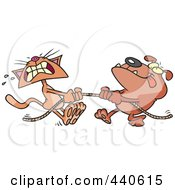 Royalty Free RF Clip Art Illustration Of A Cartoon Bull Dog And Cat Playing Tug Of War