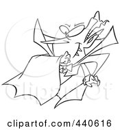 Royalty Free RF Clip Art Illustration Of A Cartoon Black And White Outline Design Of A Batty Vampire