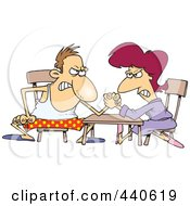 Royalty Free RF Clip Art Illustration Of A Cartoon Married Couple Arm Wrestling by toonaday